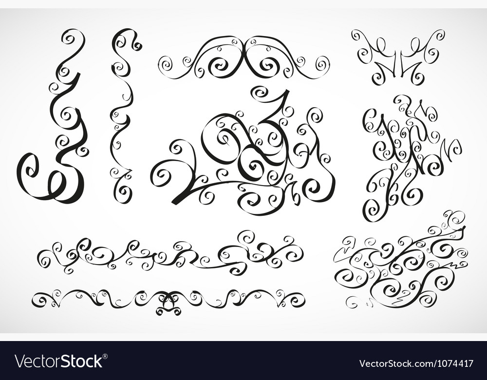 Calligraphic design elements smooth floral lines vector | Price: 1 Credit (USD $1)
