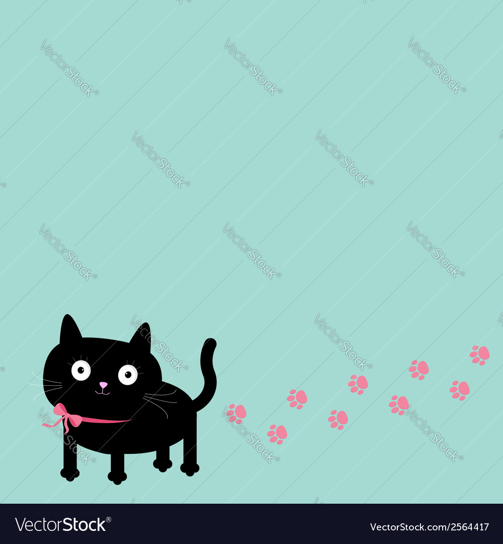 Cartoon cat and paw print track in the corner vector | Price: 1 Credit (USD $1)