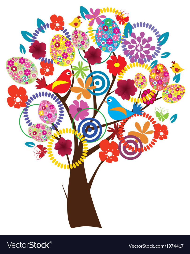 Easter beautiful tree vector | Price: 1 Credit (USD $1)