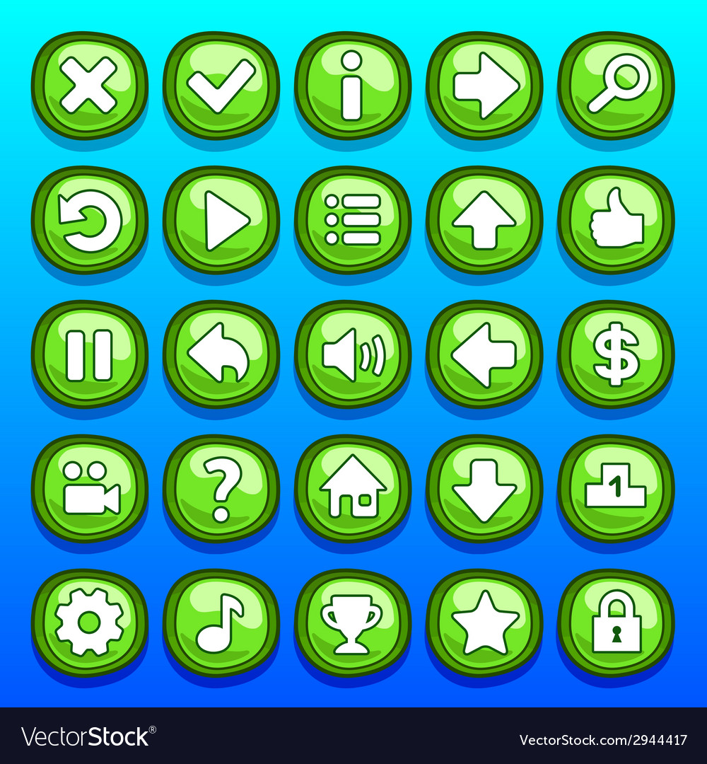 Game green buttons set vector | Price: 1 Credit (USD $1)