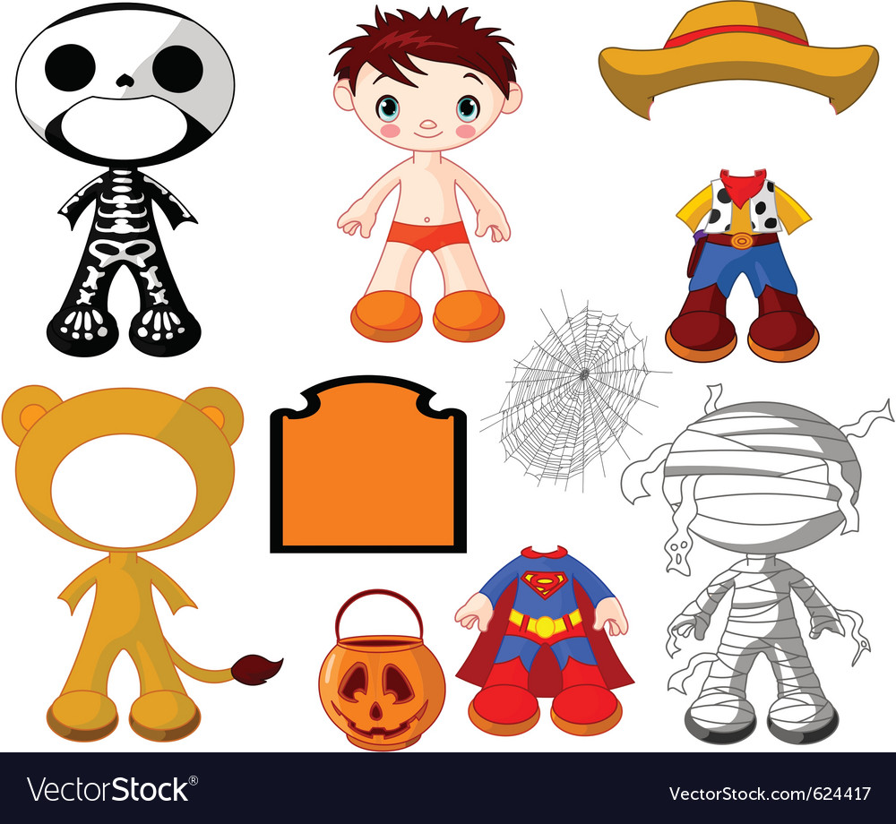 Halloween paper doll boy with costumes vector | Price: 3 Credit (USD $3)