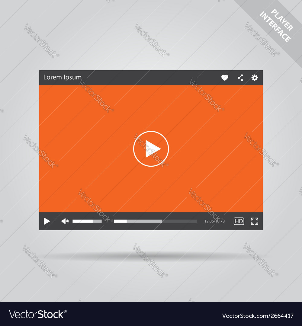 Modern flat video player interface vector   Price: 1 Credit (USD $1)