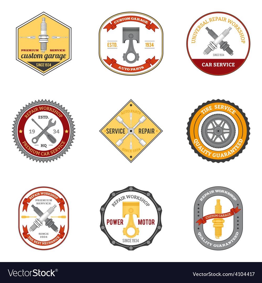 Repair workshop emblems colored vector | Price: 1 Credit (USD $1)