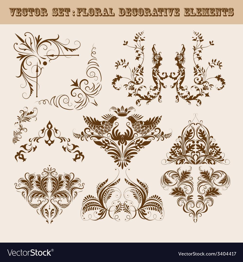 Set of floral decorative elements vector   Price: 1 Credit (USD $1)