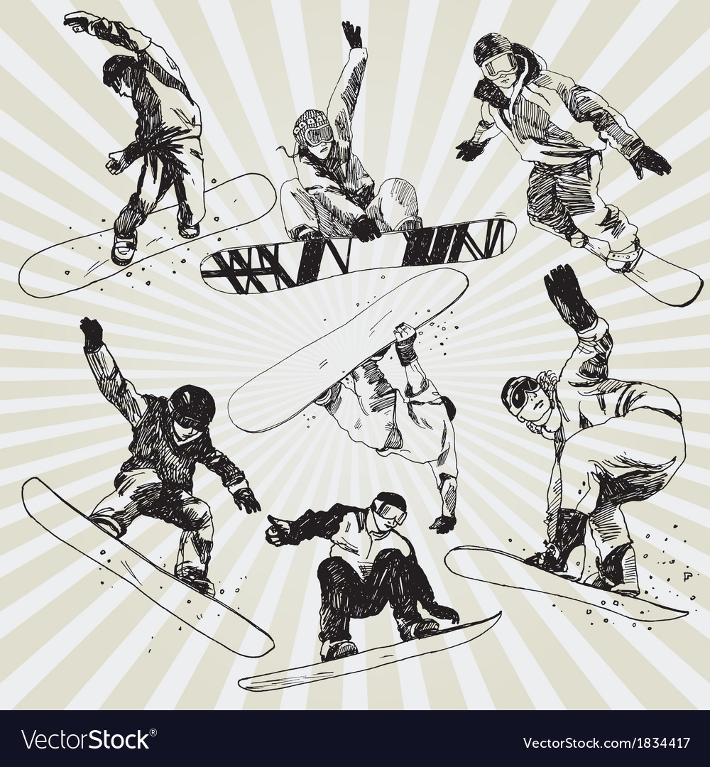 Snowboarders vector | Price: 1 Credit (USD $1)