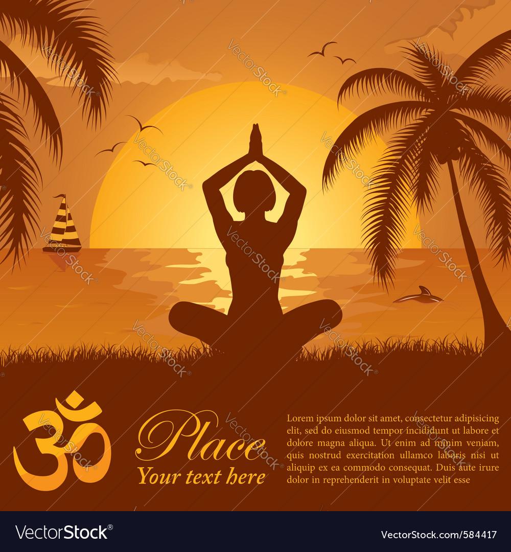 Summer yoga pose vector   Price: 1 Credit (USD $1)