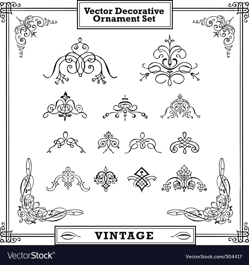 vintage decorative ornament set vector | Price: 1 Credit (USD $1)