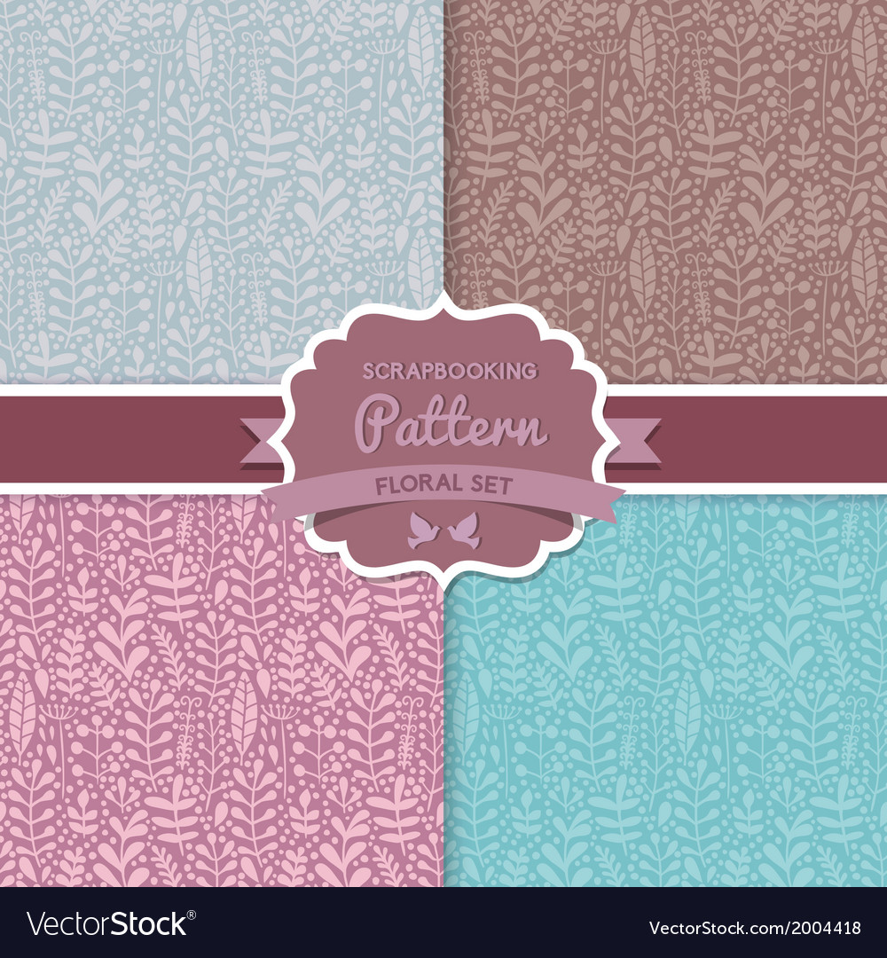 4 seamless pattern plant leaf floral patterns vector | Price: 1 Credit (USD $1)
