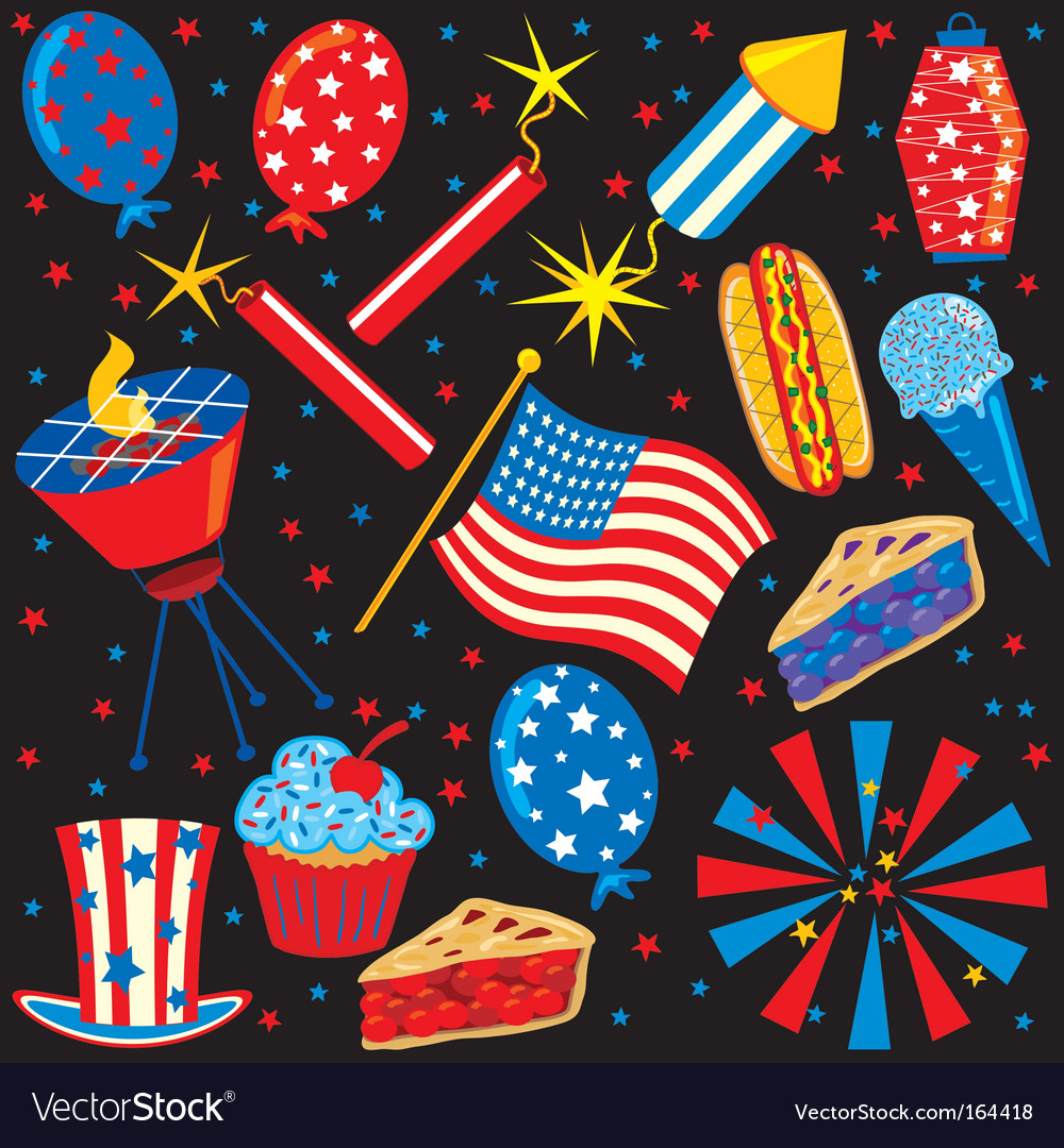 4th of july icons vector | Price: 3 Credit (USD $3)
