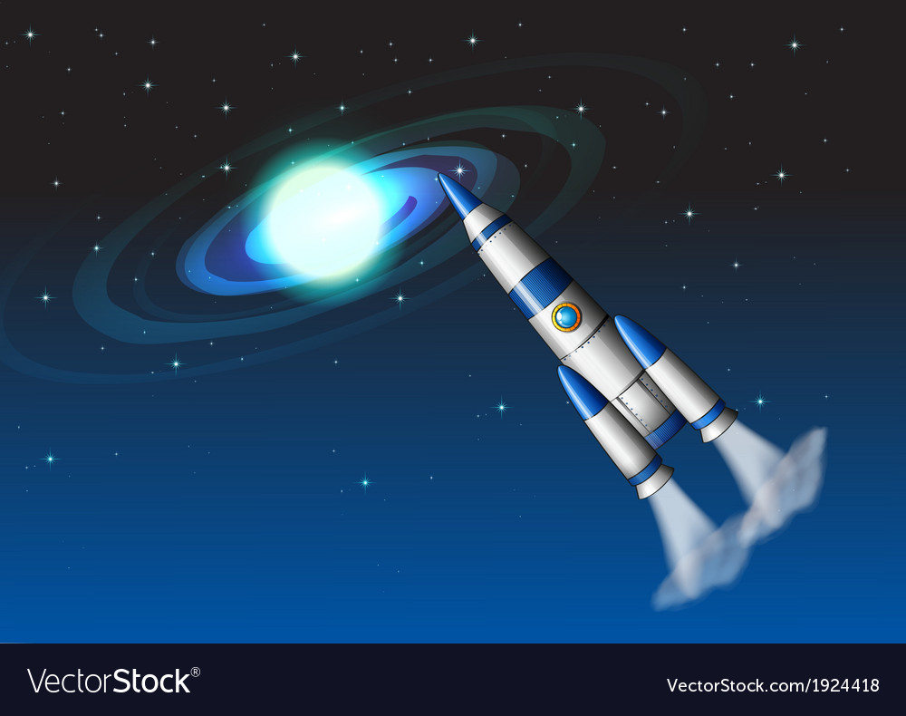 A rocket in the sky vector | Price: 3 Credit (USD $3)