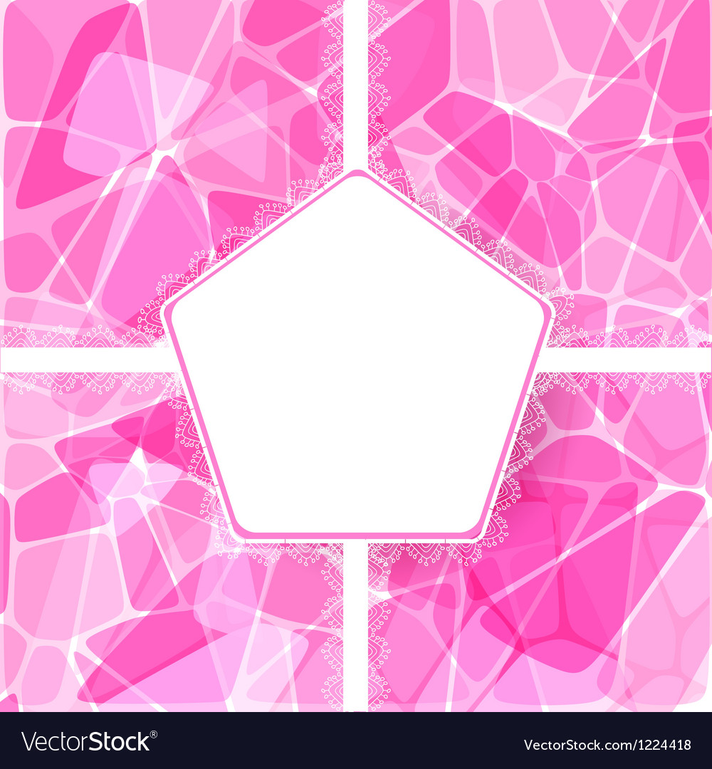 Abstract pink card with lace label vector | Price: 1 Credit (USD $1)