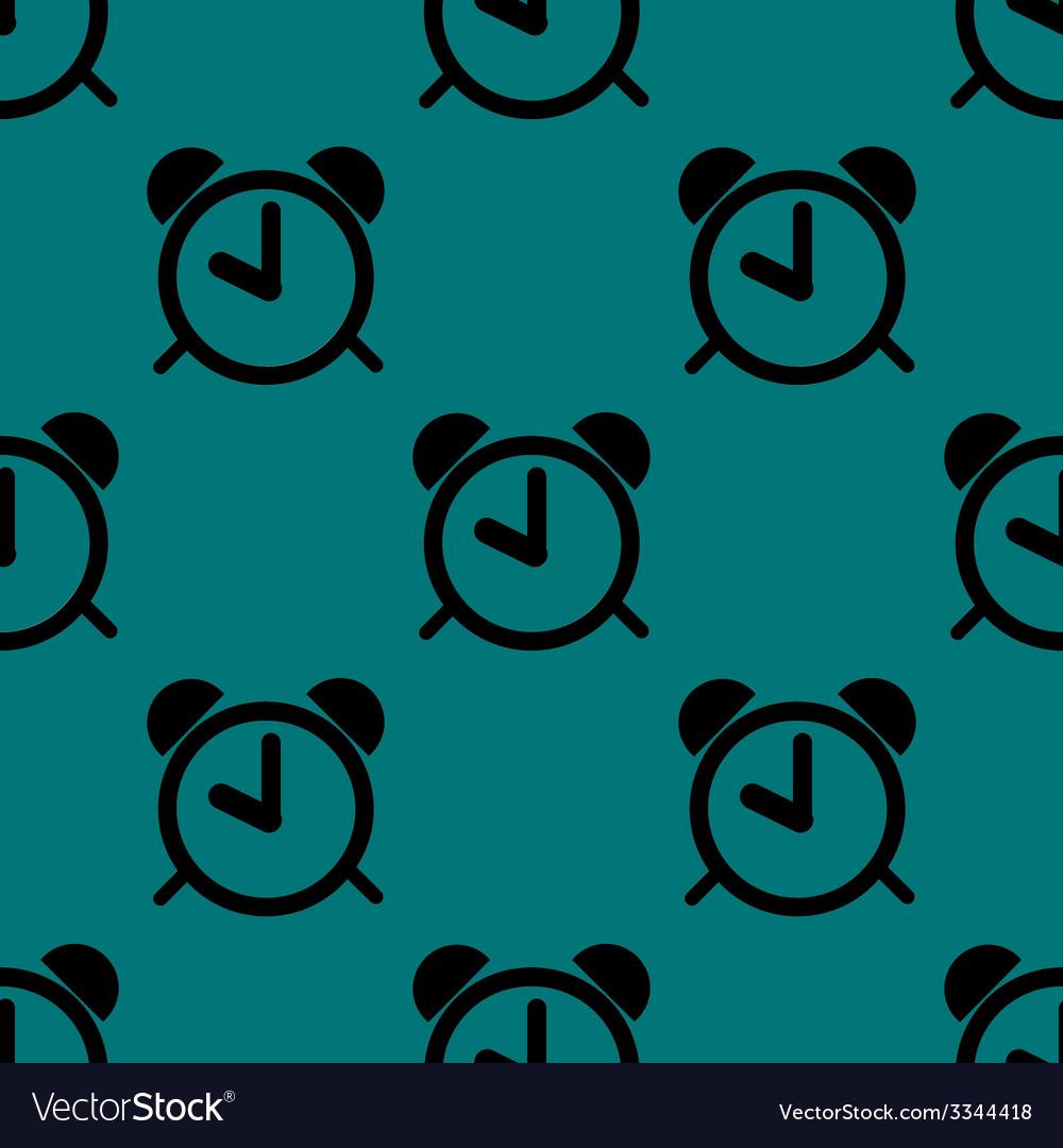 Alarm clock web icon flat design seamless pattern vector | Price: 1 Credit (USD $1)