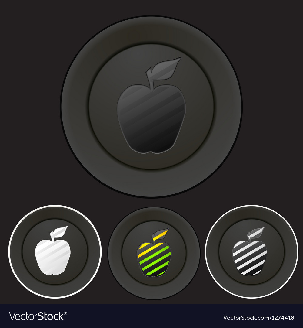 Black buttons set with apple silhouette vector | Price: 1 Credit (USD $1)
