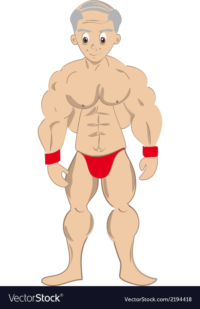 Cartoon muscled old man vector | Price: 1 Credit (USD $1)