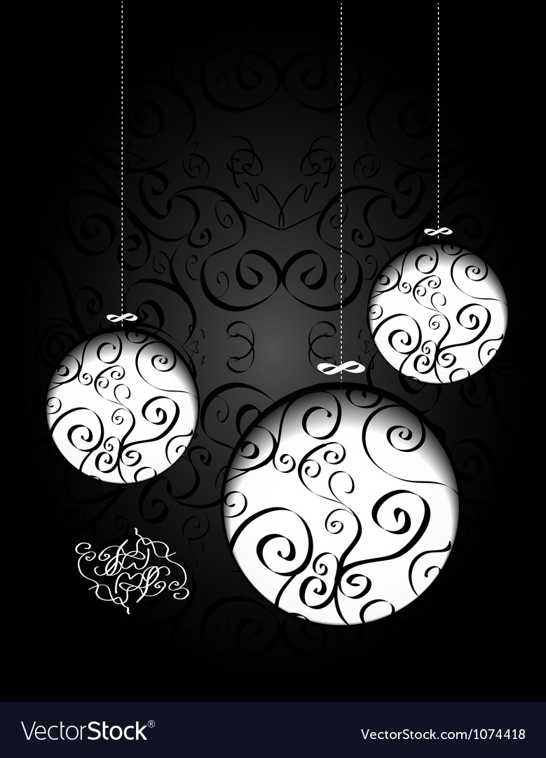 Creative christmas balls with calligraphic vector | Price: 1 Credit (USD $1)