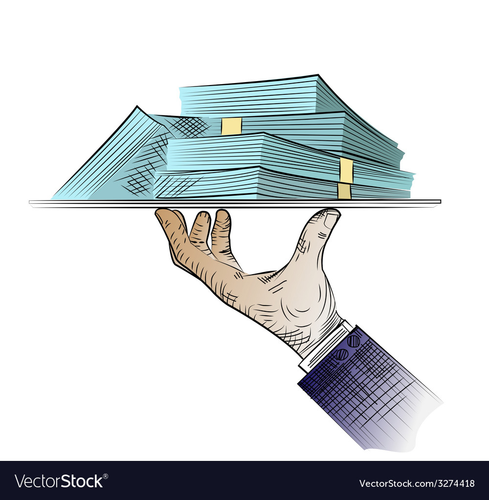 Hand sketch with money vector | Price: 1 Credit (USD $1)