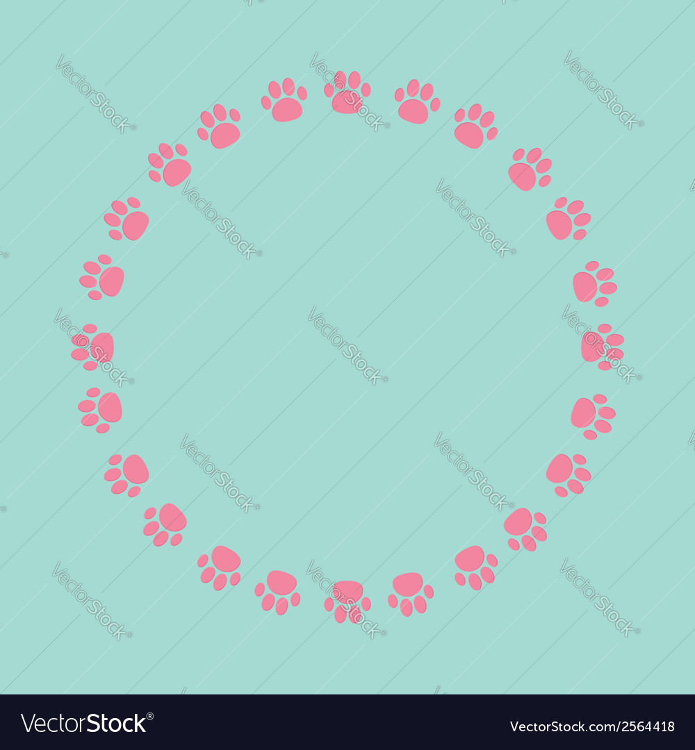 Paw print round frame empty template vector | Price: 1 Credit (USD $1)