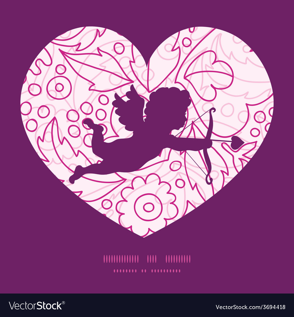 Pink flowers lineart shooting cupid vector | Price: 1 Credit (USD $1)