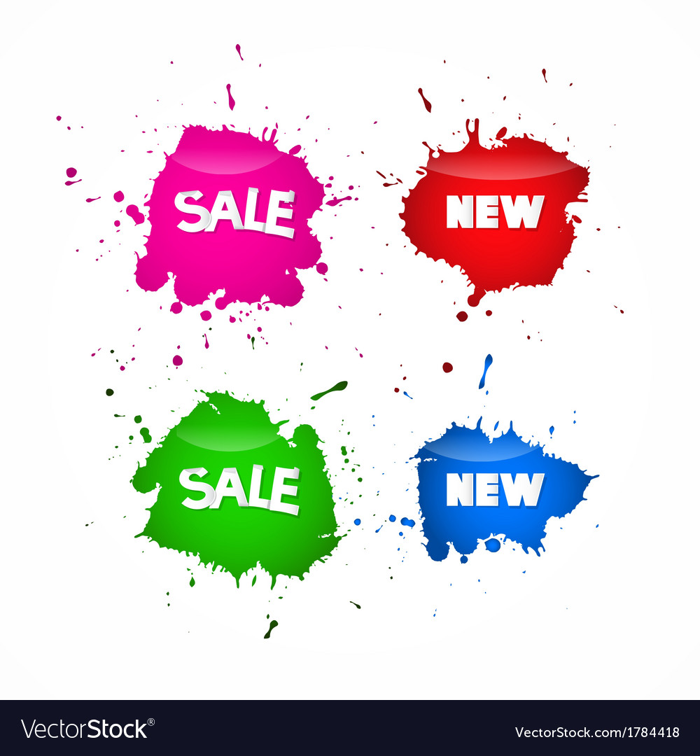 Sale labels tags set in splash blot style vector | Price: 1 Credit (USD $1)