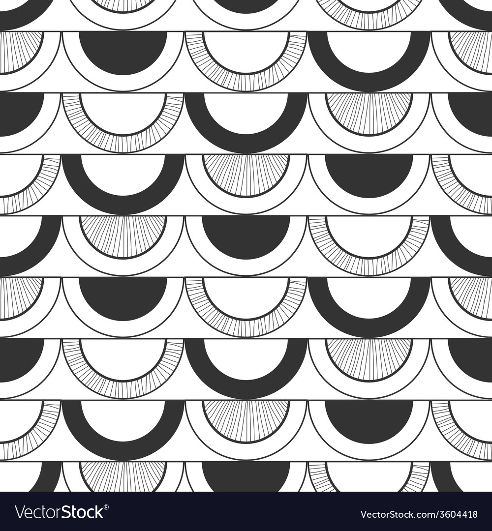Seamless black and white decorative pattern vector | Price: 1 Credit (USD $1)