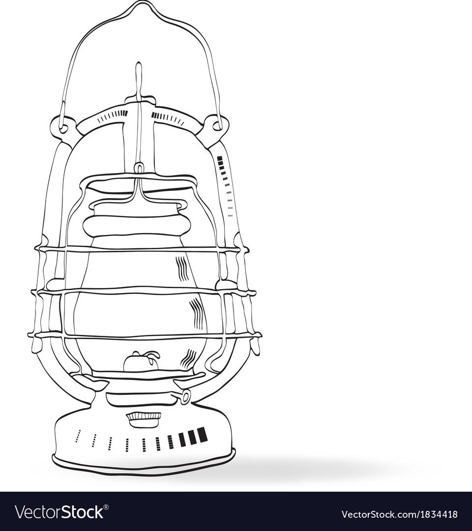 Sketch old kerosene lamp vector | Price: 1 Credit (USD $1)