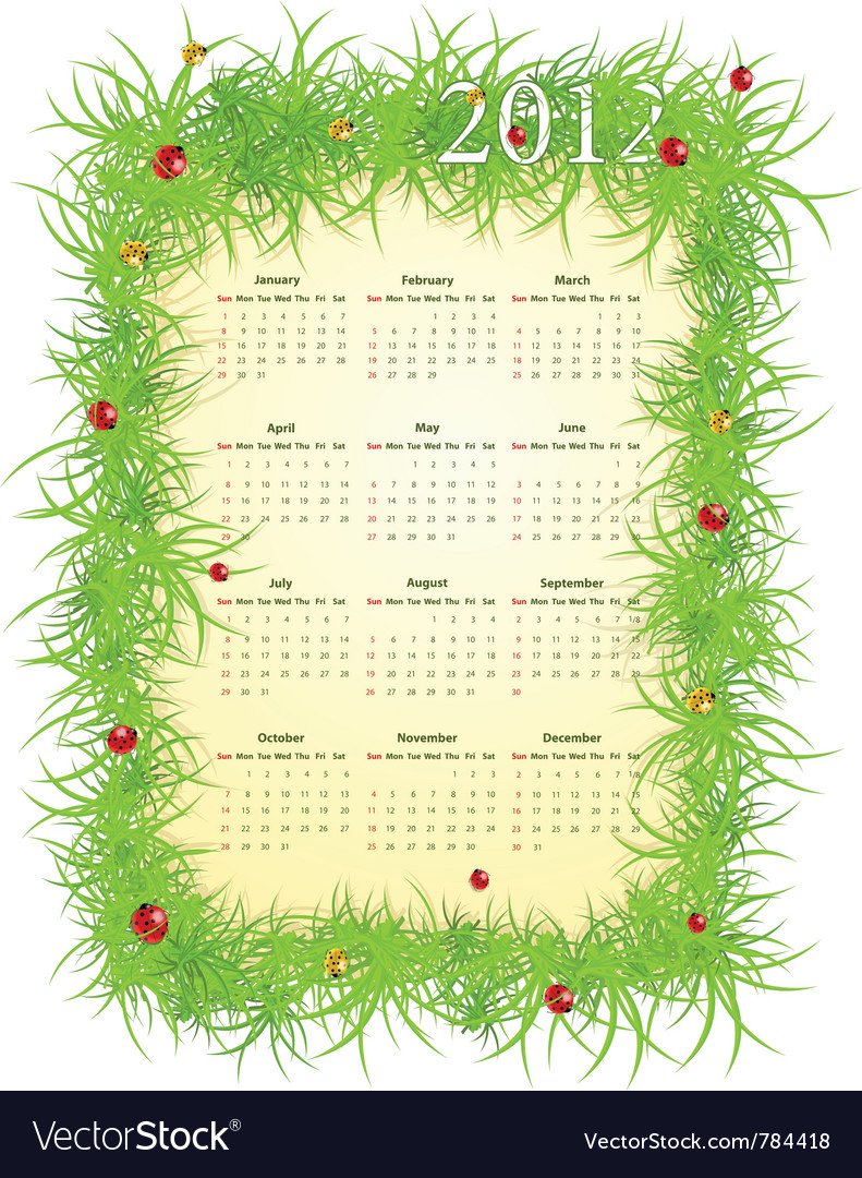Spring 2012 calendar vector | Price: 1 Credit (USD $1)