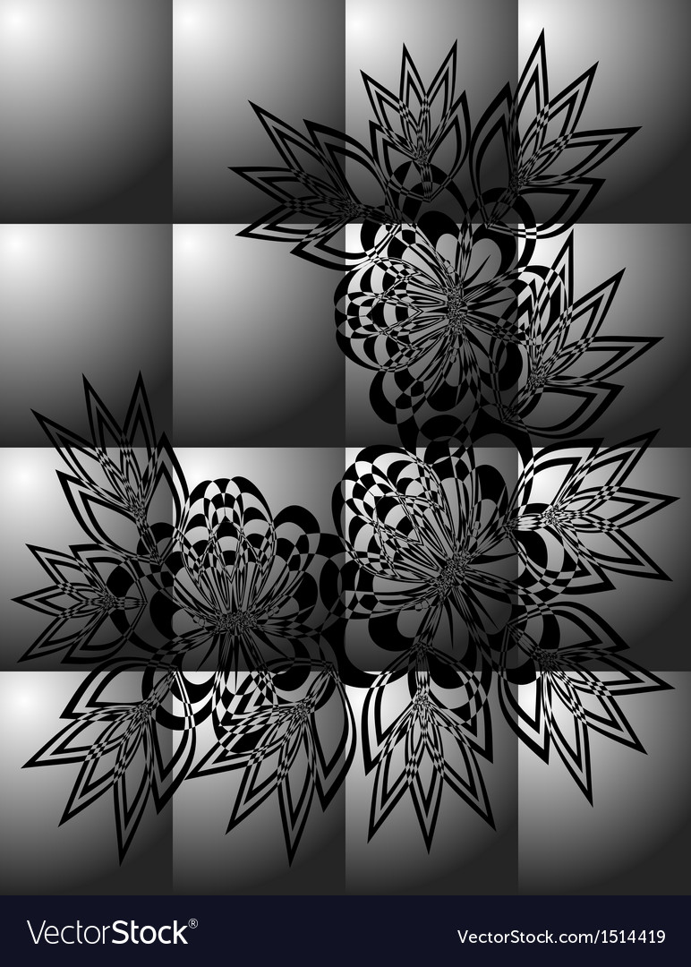 Abstract black floral ornament on grey background vector | Price: 1 Credit (USD $1)