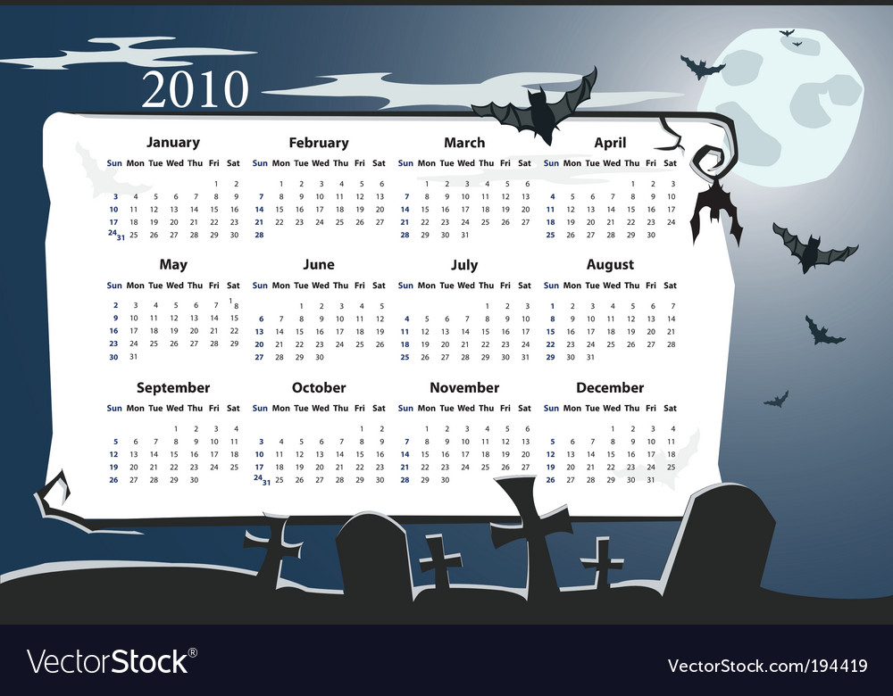 American halloween calendar vector | Price: 1 Credit (USD $1)