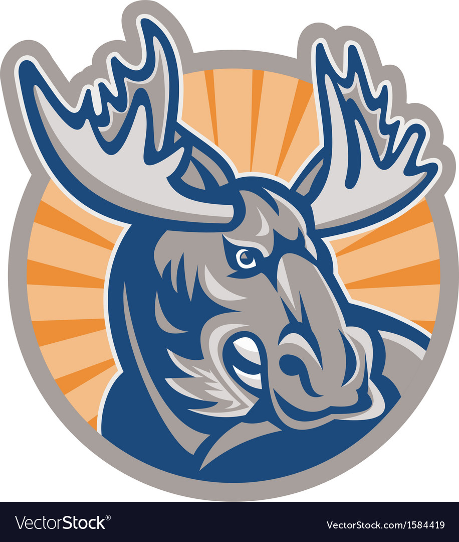 Angry moose mascot retro vector | Price: 1 Credit (USD $1)