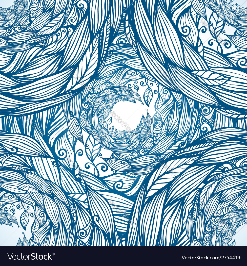 Blue ornate doodle foliage circle seamless pattern vector | Price: 1 Credit (USD $1)