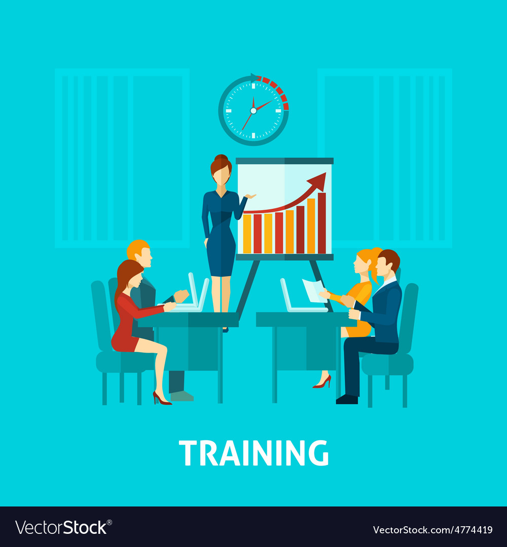 Business training flat icon vector | Price: 1 Credit (USD $1)
