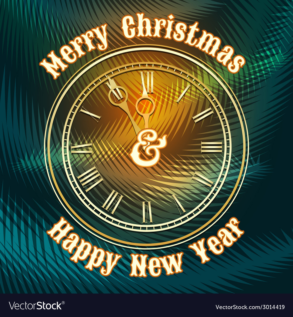 Christmas and happy new year clock vector | Price: 1 Credit (USD $1)