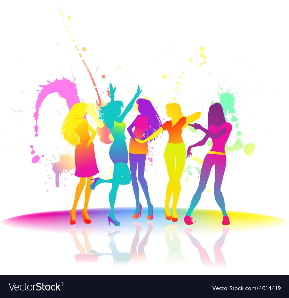 Dancing women at disco vector | Price: 1 Credit (USD $1)
