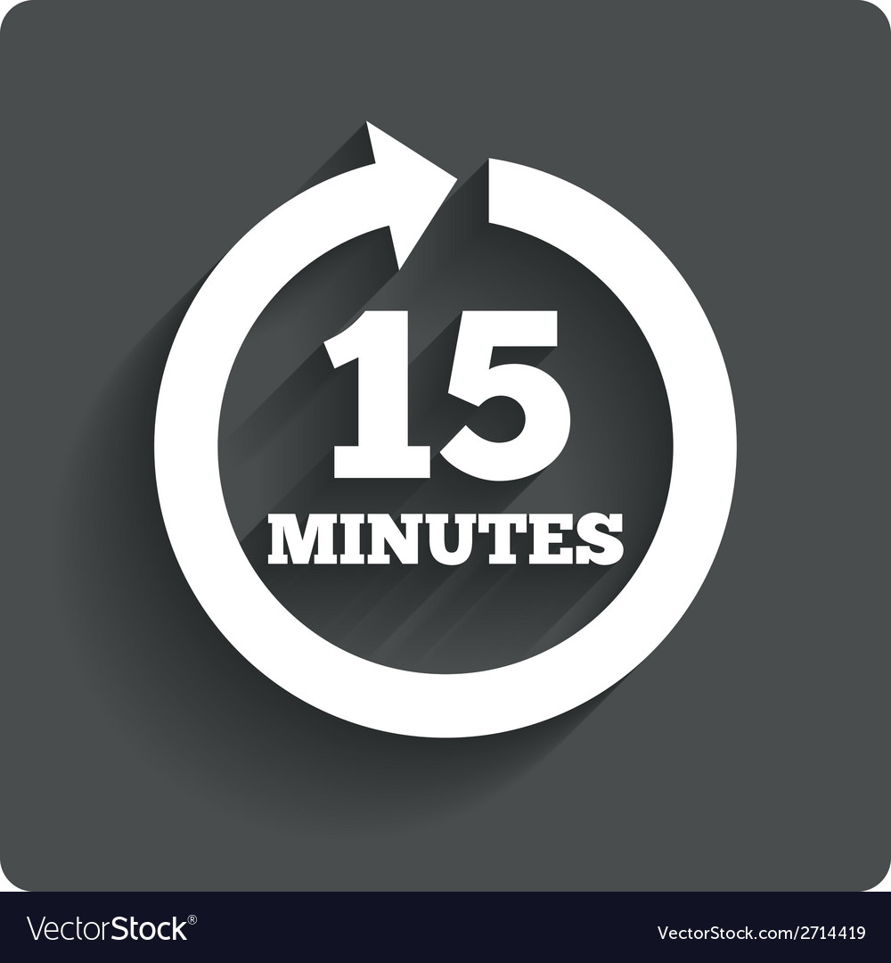 Every 15 minutes sign icon full rotation arrow vector | Price: 1 Credit (USD $1)