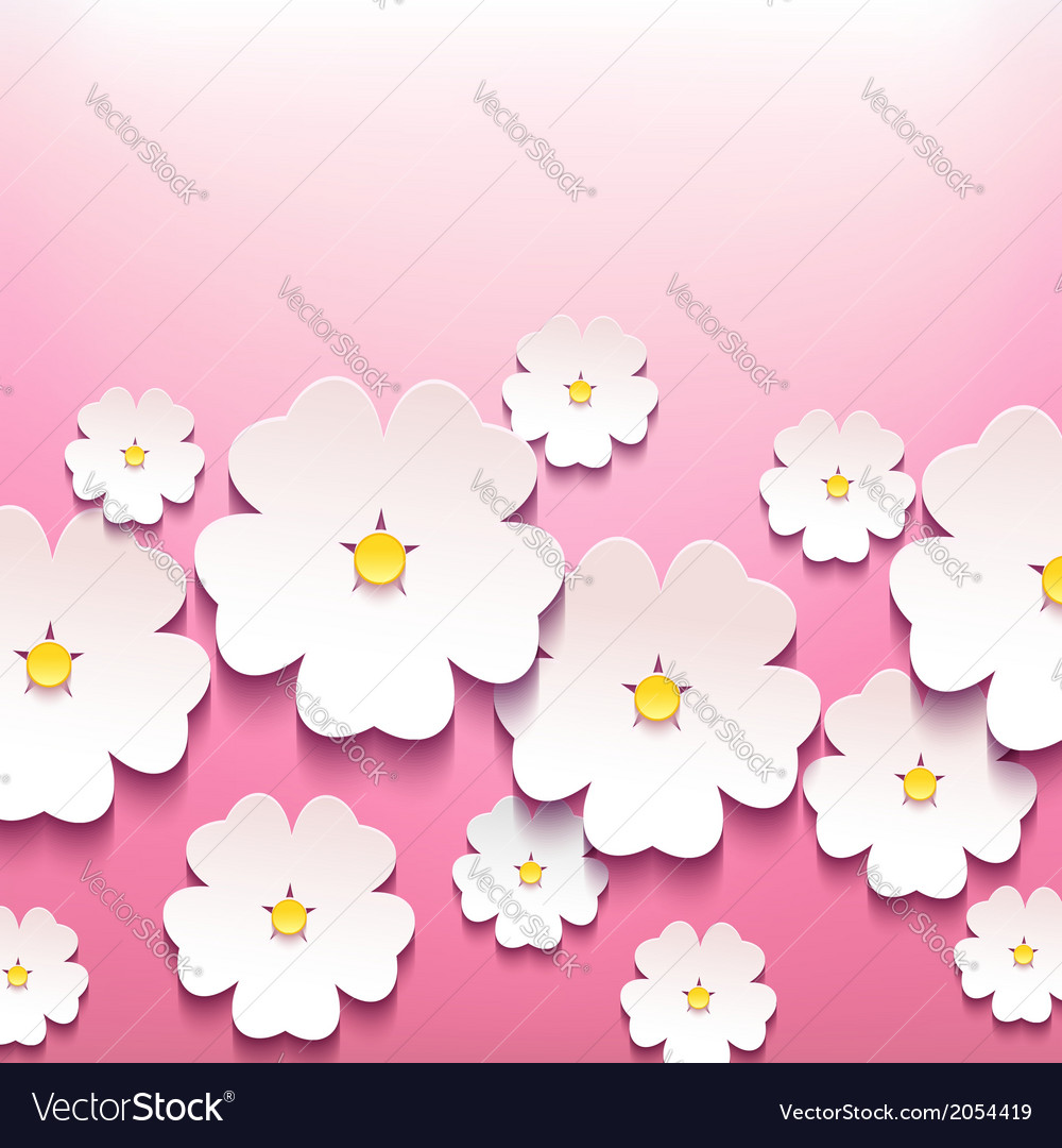 Floral greeting card with 3d flower sakura vector | Price: 1 Credit (USD $1)