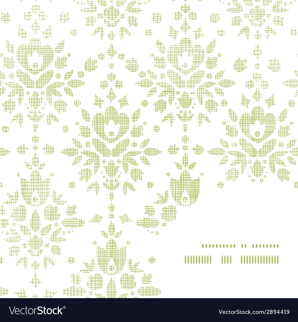 Green textile damask flower frame corner pattern vector | Price: 1 Credit (USD $1)