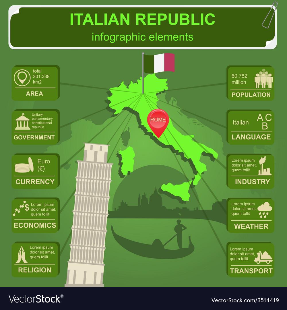 Italian republic infographics statistical data vector | Price: 1 Credit (USD $1)