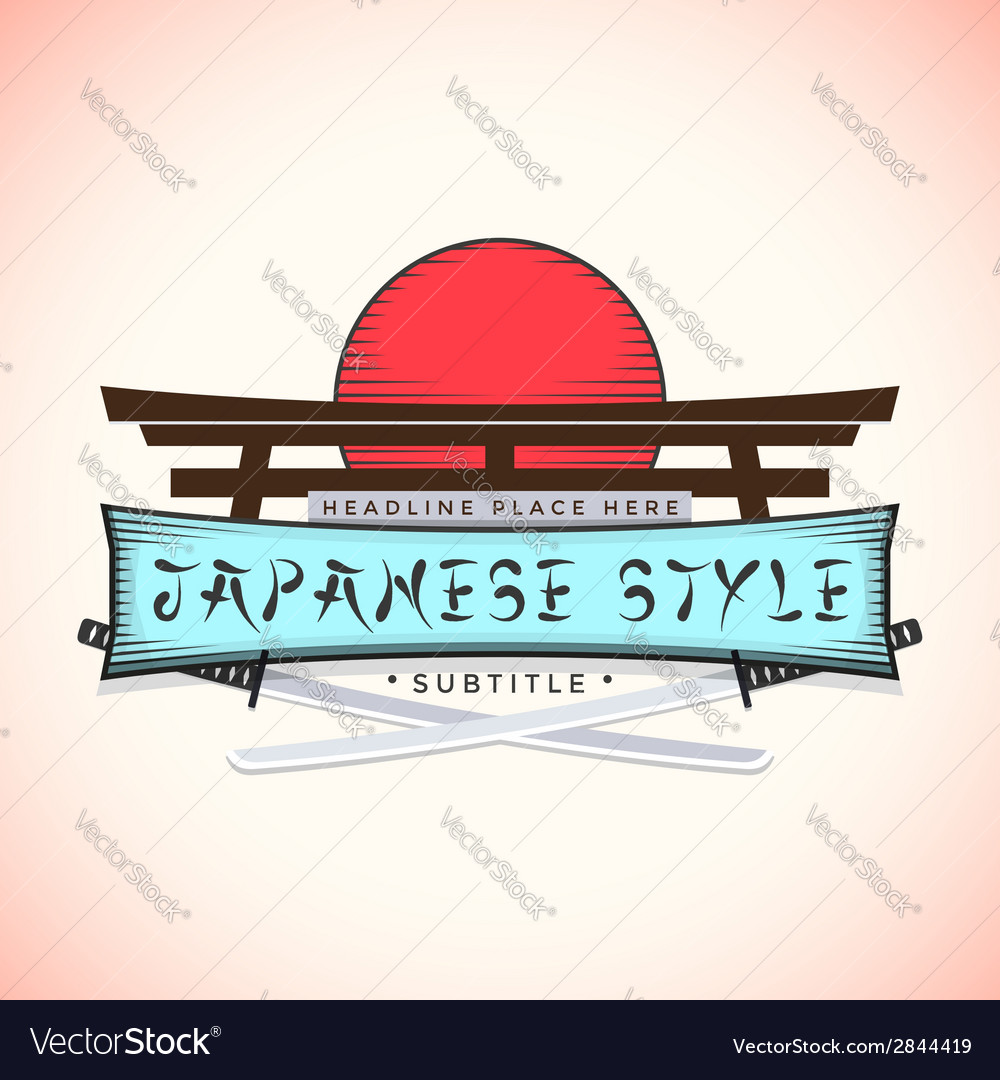 Japan style banner with catanas vector | Price: 1 Credit (USD $1)