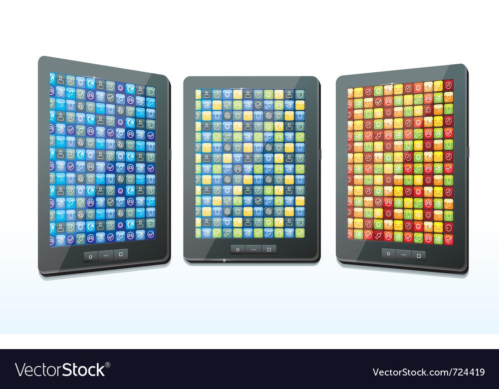 Three tablet computers - vector | Price: 1 Credit (USD $1)