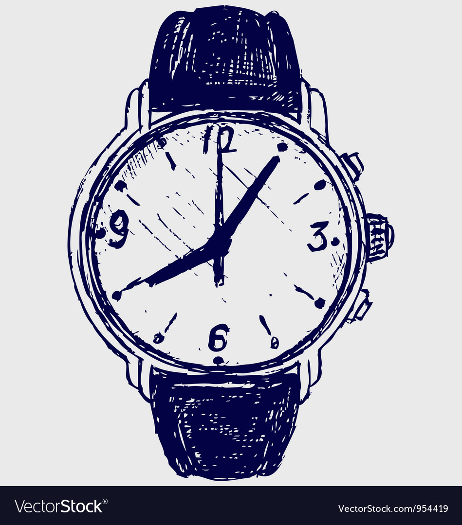 Wristwatch sketch vector | Price: 1 Credit (USD $1)