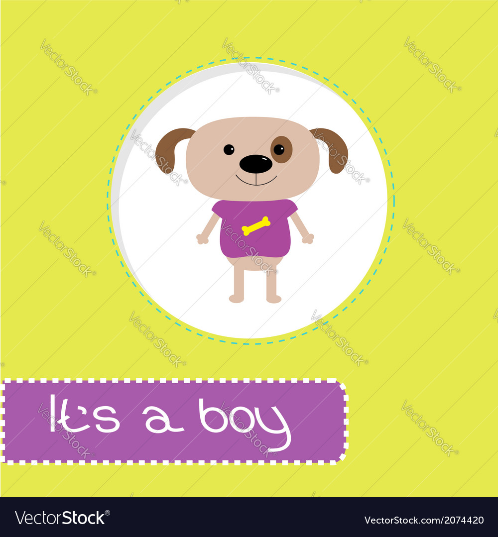 Baby shower card with dog its a boy vector | Price: 1 Credit (USD $1)