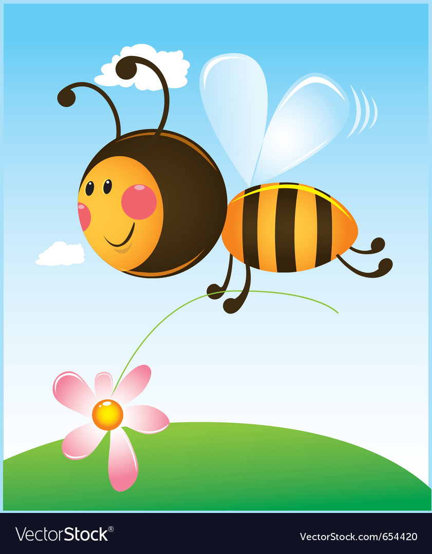 Bee and flower color vector | Price: 1 Credit (USD $1)