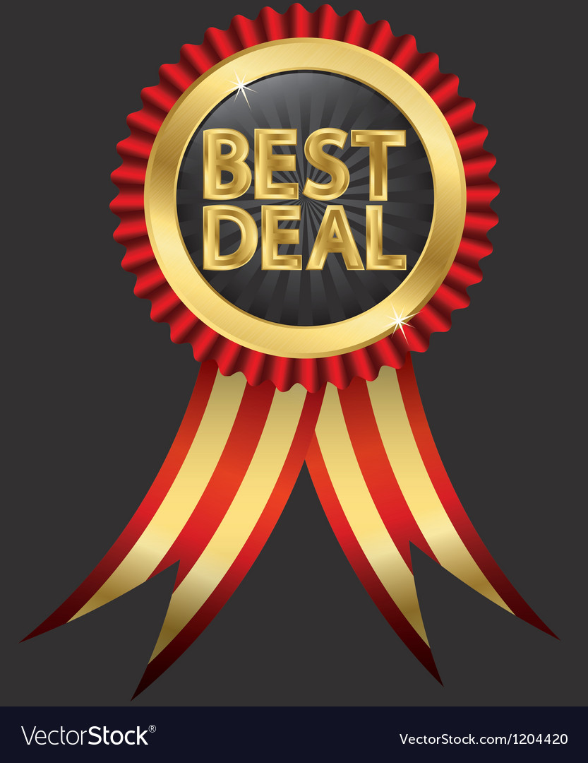 Best deal golden label with red ribbons vector | Price: 3 Credit (USD $3)