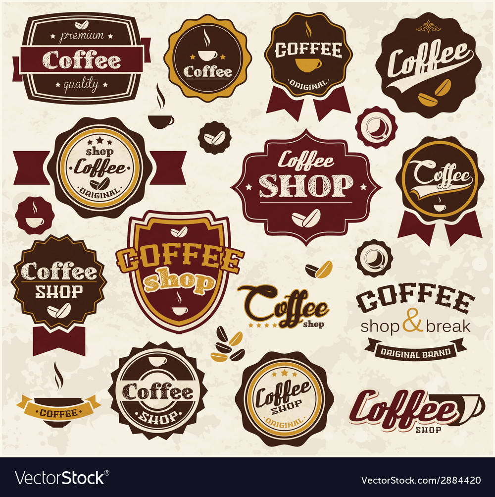 Collection of vintage retro coffee stickers badges vector | Price: 1 Credit (USD $1)