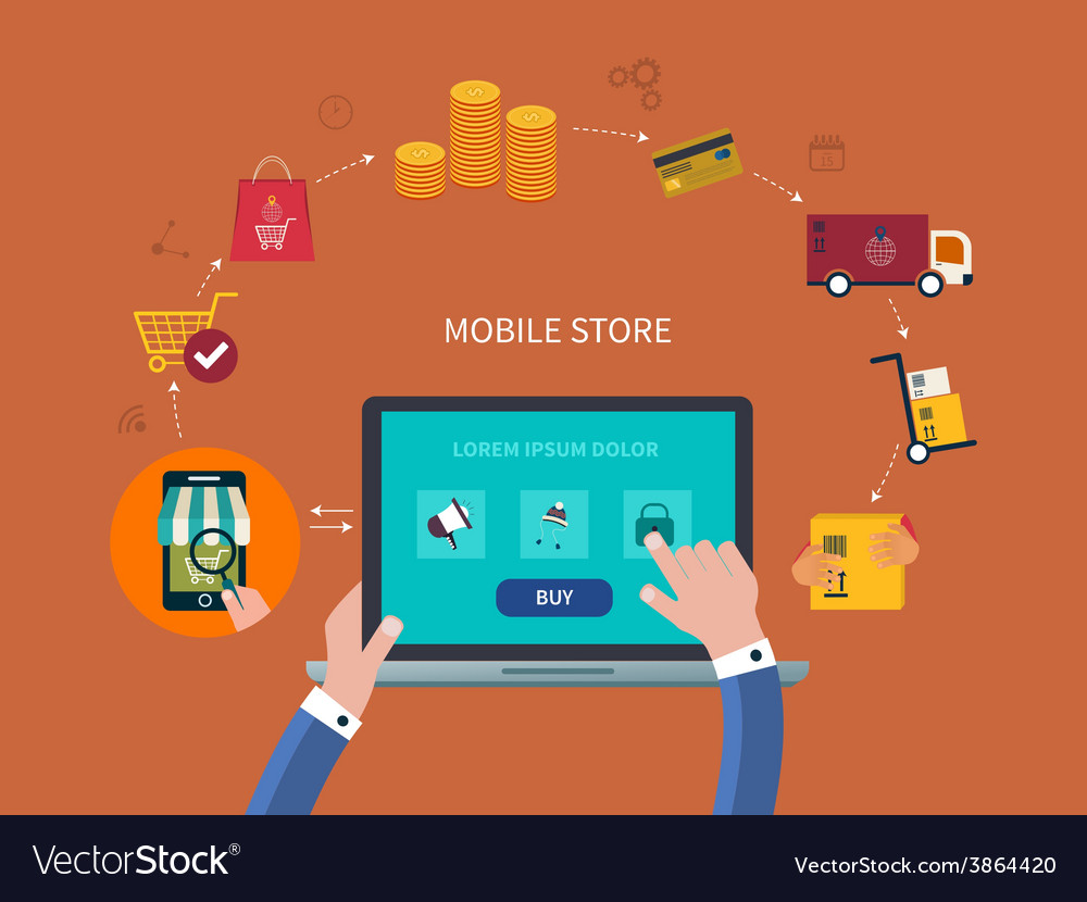 E-commerce and online shopping icons vector | Price: 1 Credit (USD $1)
