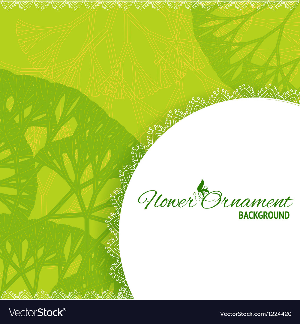 Green retro frame background with abstract trees vector | Price: 1 Credit (USD $1)