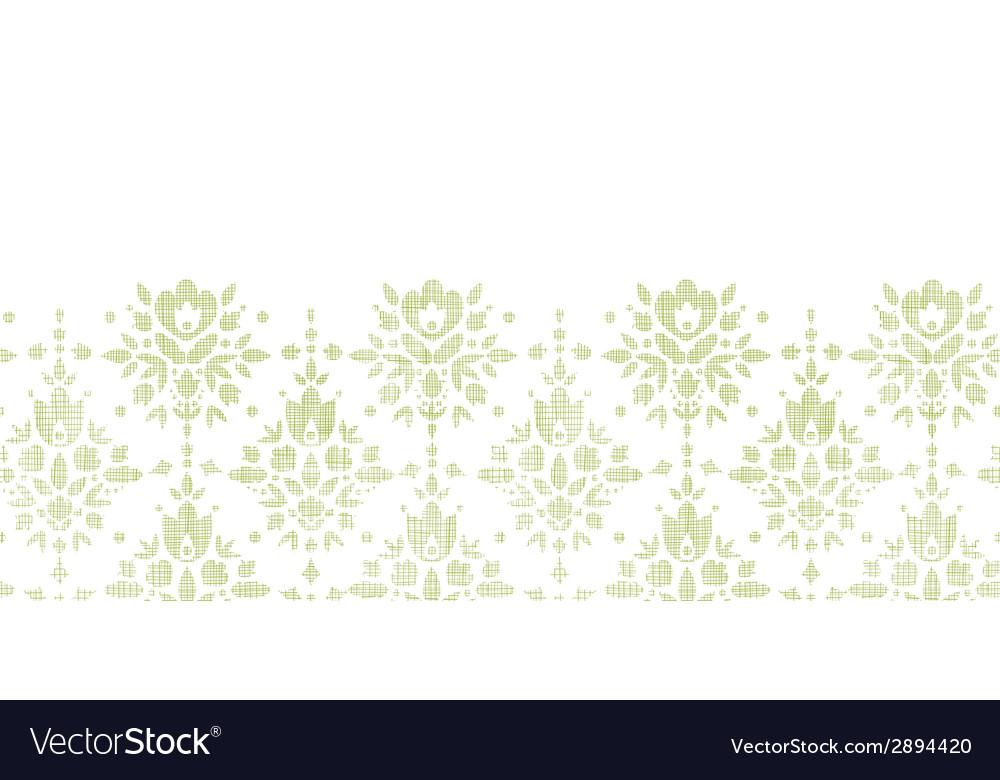 Green textile damask flower horizontal border vector | Price: 1 Credit (USD $1)