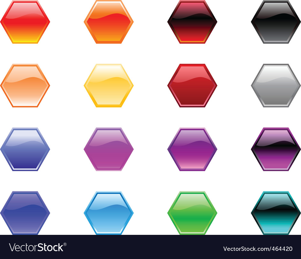 Hexagon shape buttons vector | Price: 1 Credit (USD $1)