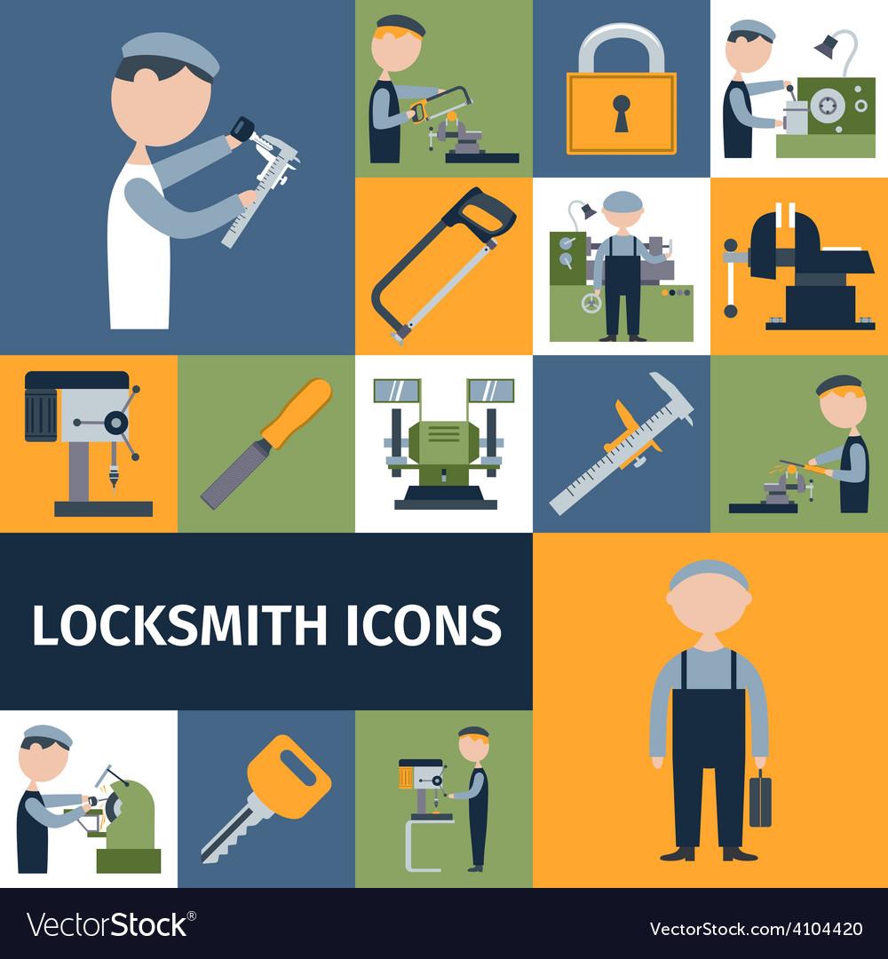 Locksmith icons set vector | Price: 1 Credit (USD $1)