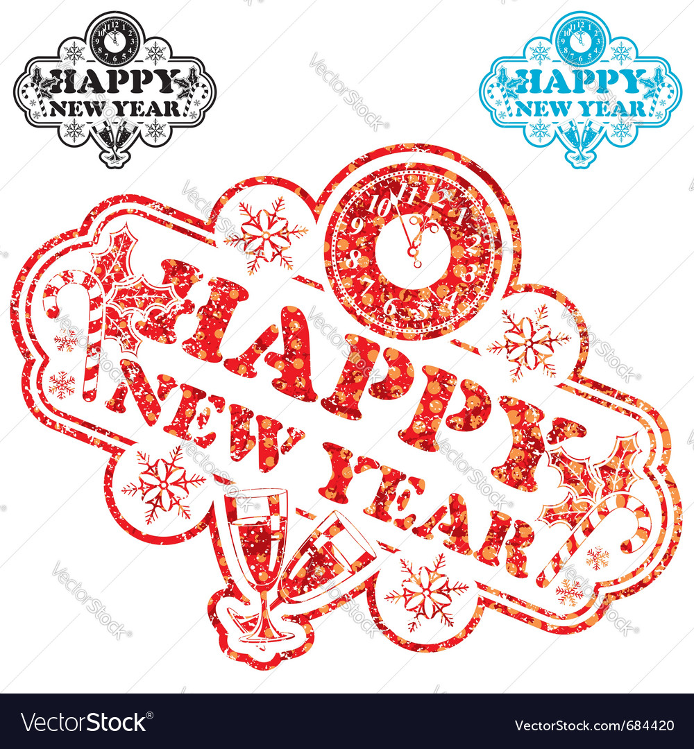 New year stamp vector | Price: 1 Credit (USD $1)